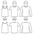 Singlet T-shirt Long-sleeved T-shirt and Cap vector image vector image