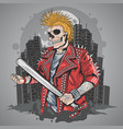 skull punk gangster with mohawk hair artwork vector image