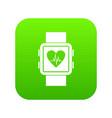 smartwatch icon digital green vector image