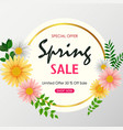 spring sale background banner with beautiful color vector image vector image
