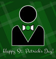 st patricks day card - figure suit and bow tie vector image vector image