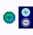 the round free sticker tag button badge vector image vector image