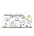 thin line art disabled people poster banner vector image