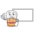 thumbs up with board easter cake character cartoon vector image vector image