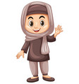 turkish kid waving hand vector image vector image