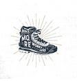 vintage hand drawn hiking boots footwear t shirt vector image vector image