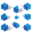 volumetric 3d style isometric blue english letter vector image