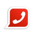 White phone handset in red speech bubble icon vector image