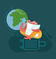 woman character with globe and suitcase vector image