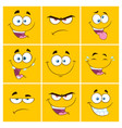 yellow cartoon square emoticons collection -2 vector image vector image