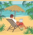 young man working on laptop on tropical beach vector image vector image