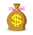 Sack of dollars with a pink bow vector image