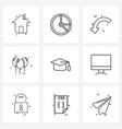 9 universal icons pixel perfect symbols cap vector image vector image