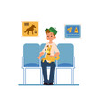 a man with his pet dog is sitting and waiting for vector image vector image