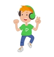 Baby in headphones listening music icon vector image