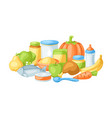 background with bafood items vector image vector image