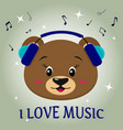 bear brown musician listening to music head in vector image vector image