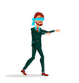 blindfolded manager walks forward with arms vector image