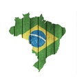 Brazilian Map With Wooden Flag vector image vector image