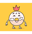 bright color smile donut with red crown o vector image