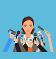 business woman giving an interview vector image vector image