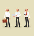 businessman character with briefcase laptop and vector image