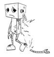 cartoon image of broken robot vector image
