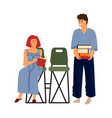 cartoon people reading recreation with books vector image