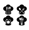 chef hat with fork knife and spoon icons vector image