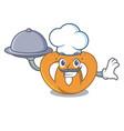 chef with food pretzel mascot cartoon style vector image vector image