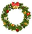 Christmas Wreath with Golden Bells vector image vector image