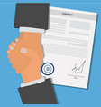 contract agreement paper blank with seal and hands