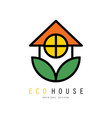 eco friendly house logo with green leaves safe vector image vector image
