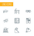 education icons line style set with book shelves vector image