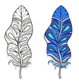 entangle stylized tribal feather for coloring vector image vector image