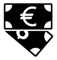 Euro and Dollar Banknotes Flat Icon vector image