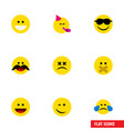 flat icon expression set of laugh hush winking vector image vector image