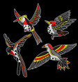 flying birds stickers for embroidery or print vector image vector image