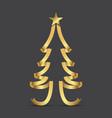 golden ribbon christmas tree and stars vector image vector image