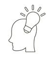 head human new idea bulb outline vector image vector image