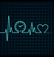 Heartbeat with a clock symbol in line vector image vector image