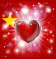 love china flag heart background vector image vector image