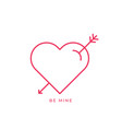 love heart icon amour arrow sign linear outline vector image