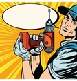 Male master repairman with a drill vector image vector image