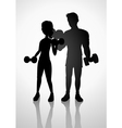 Man and woman exercising with dumbbells vector image vector image