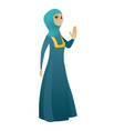 muslim business woman showing palm hand vector image vector image