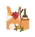picnic basket or hamper with delicious meals vector image vector image