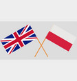 poland and uk crossed polish and england flags vector image vector image