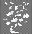 realistic 3d detailed white flying papers vector image vector image