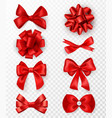 red gift bows realistic silk ribbons vector image vector image